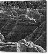 Black And White Image Of The Badlands Canvas Print