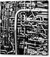 Black And White Jet Engine Canvas Print