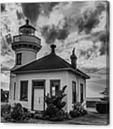 Black And White Mukilteo Lighthouse Canvas Print