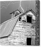 Black And White Old Barn Lightning Strikes Canvas Print