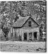 Black And White Old Merritt Farmhouse Canvas Print