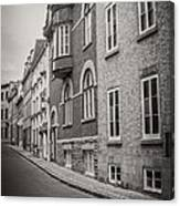 Black And White Old Style Photo Of Old Quebec City Canvas Print