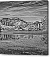 Black And White Photo Of Long Pond Acadia National Park Maine Canvas Print