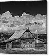 Black And White Photo Of The T.a. Moulton Barn In The Grand Tetons Canvas Print