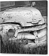 Black And White Photograph A Vintage Junk Chevy Pickup Truck Canvas Print