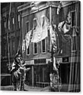 Black And White Photograph Of A Mannequin In Lingerie In Storefront Window Display  Canvas Print