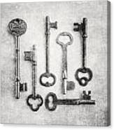 Black And White Photograph Of Vintage Skeleton Keys For Rustic Home Decor Canvas Print