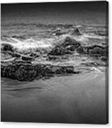 Black And White Photograph Of Waves Crashing On The Shore At Sand Beach Canvas Print