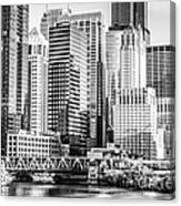 Black And White Picture Of Chicago At Lake Street Bridge Canvas Print