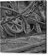 Black And White Pulley Canvas Print