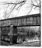 Black And White Schofield Ford Covered Bridge Canvas Print