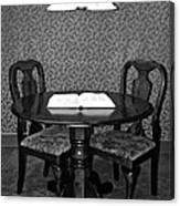 Black And White Sitting Table Canvas Print