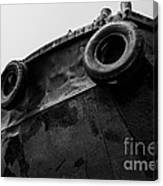 Black And White Stern With Ladder And Tires Canvas Print