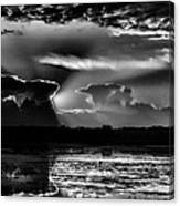 Black And White Sunset Over The Mead Wildlife Area Canvas Print