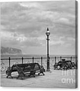 Black And White Swanage Pier Canvas Print