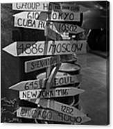 Black And White World Directions Canvas Print