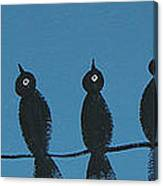 Black Birds On The Line Canvas Print