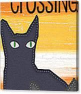 Black Cat Crossing Canvas Print