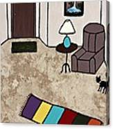 Essence Of Home - Black Cat Entering Living Room Canvas Print