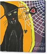 Black Cat In A Hat  Canvas Print