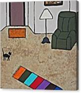 Essence Of Home - Black Cat In Living Room Canvas Print