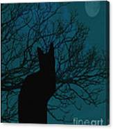 Black Cat In The Moonlight Blue Canvas Print