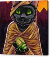 Black Cat Mummy Monster Canvas Print