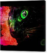 Black Cat Neon Canvas Print