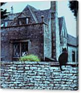 Black Cat On A Stone Wall By House Canvas Print
