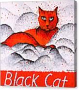 Black Cat Orange Canvas Print