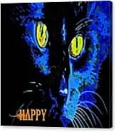 Black Cat Portrait With Happy Halloween Greeting  Canvas Print