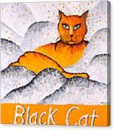 Black Cat Yellow Canvas Print