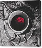 Black Coffee And Roses Canvas Print