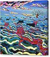 Black Cows In Flood Canvas Print