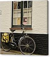 Black Cycle Rests On Window Sill Bruges Belgium Canvas Print