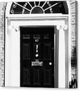 Black Georgian Door With Brass Letterbox Door Knob And Knocker And Fanlight In Dublin Canvas Print