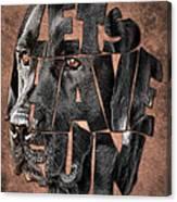 Black Labrador Typography Artwork Canvas Print