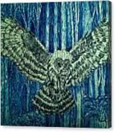 Black Owl On Blue Night Canvas Print