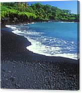 Black Sand Beach Hana Maui Hawaii Canvas Print