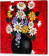 Black Vase With Daisies Canvas Print