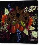 Black With Flowers And Fruit Canvas Print
