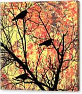 Blackbirds In A Tree Canvas Print