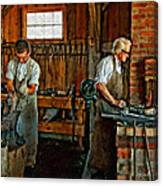 Blacksmith And Apprentice Impasto Canvas Print