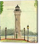Blackwell Island Lighthouse Ny Chart Map Art Canvas Print
