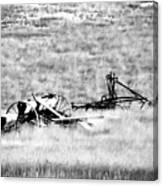 Black And White Of Old Farm Equipment Canvas Print