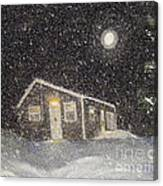 Blizzard At The Cabin Canvas Print