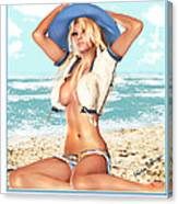 Blonde On The Beach With Opened Shirt Canvas Print