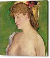 Blonde With Bare Breasts Canvas Print