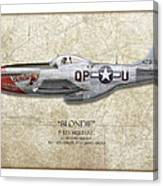 Blondie P-51d Mustang - Map Background Canvas Print