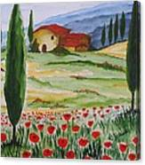 Blooming Poppy In Tuscany Canvas Print